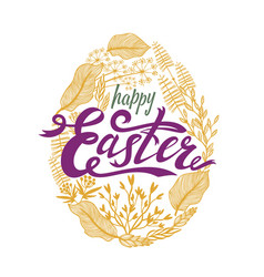 easter design with floral frame in egg shape vector image