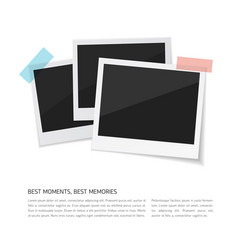 Enjoy your moments set polaroid photos vector