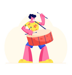 Excited drummer playing music with sticks on drums vector