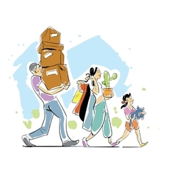 Family moving home concept vector image