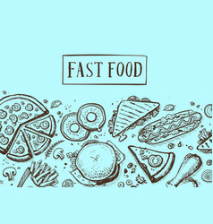 fast food vintage hand drawn graphic design vector image