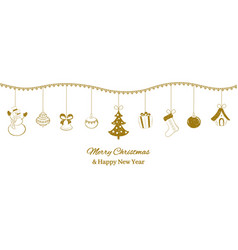 festive horizontal banner golden christmas vector image