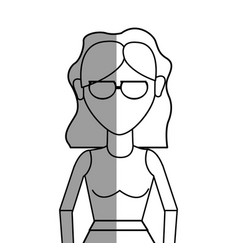Figure beautiful woman with glasses and blouse vector