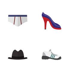 Flat garment set of sneakers heeled shoe vector