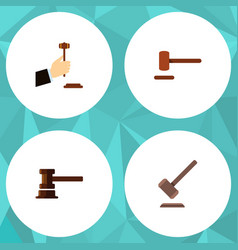 flat icon hammer set of tribunal government vector image