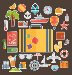 flat icons set of traveling on airplane planning vector image