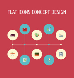 flat icons towel laundromat means for cleaning vector image