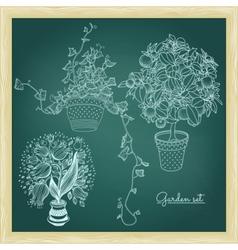 Garden set with 3 plants in flowerpot vector