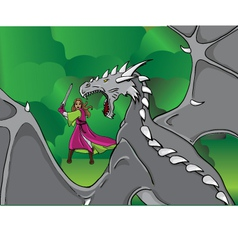 Girl and a dragon vector
