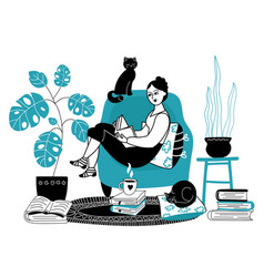 girl reading books woman read book female vector image