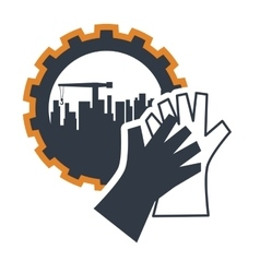 Gloves and industrial plant design vector