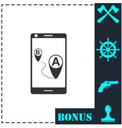 gps phone icon flat vector image