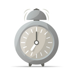 Gray retro alarm clock with bell icon vector
