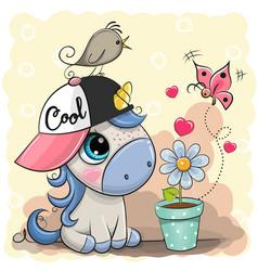 Greeting card cute cartoon unicorn with flower vector