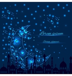 Greeting card with crescent moon and silhouette vector image