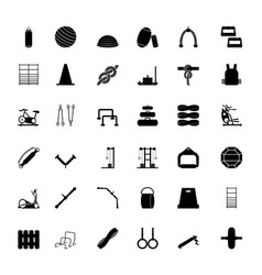 Gym equipment icons vector