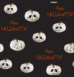 halloween pattern with scary white pumpkins vector image