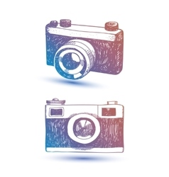 hand drawn retro camera Hipster vector image