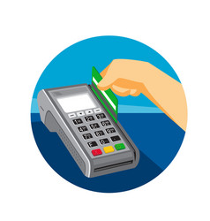 Hand swiping credit card on pos terminal retro vector