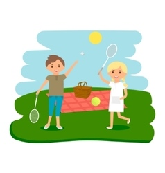 Happy kids picnic resting Boy and girl outdoors vector image