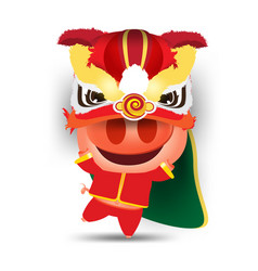 Happy pig cartoon and lion dance chinese new year vector