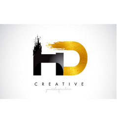 Hd letter design with brush stroke and modern 3d vector