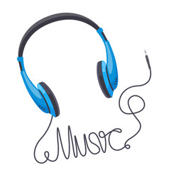 headphones music concept wired earbud music vector image