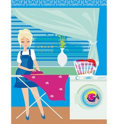 Housewife ironing clothes at home vector
