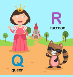 Isolated alphabet letter q-queen r-raccoon vector