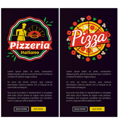 Italian pizza of best quality vertical web pages vector