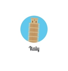Italy tower landmark isolated round icon vector image