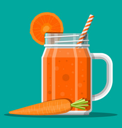 jar with carrot smoothie with striped straw vector image