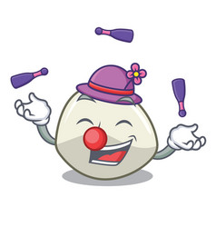 Juggling mozzarella cheese isolated on mascot vector