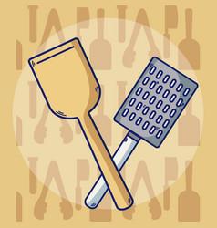 kitchen tools crossed vector image