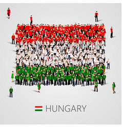Large group of people in the shape of hungary flag vector