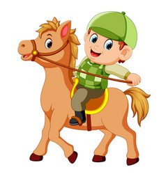 little boy riding a pony horse vector image