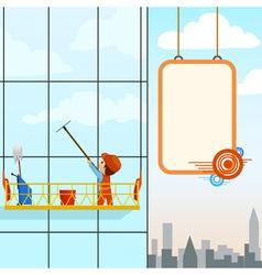 man wash windows vector image