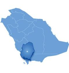 Map of Saudi Arabia the region Asir vector