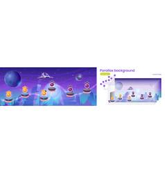 Mobile arcade with spaceship parallax background vector