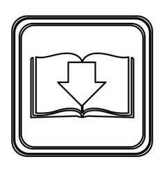 Monochrome contour with button icon of book with vector