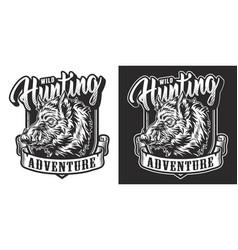 Monochrome hunting vintage label vector