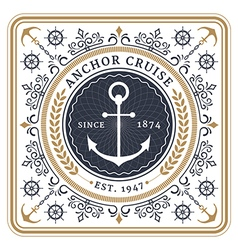 Nautical anchor cruise retro card vector