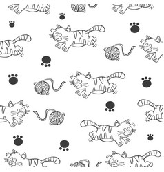 pattern of cat and yarn ball vector image