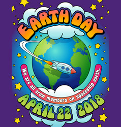 Psychedelic earth day poster vector