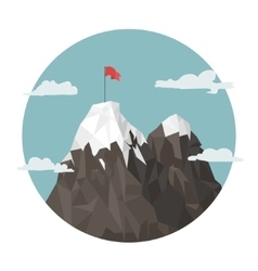 Red flag on a Mountain peak success vector image