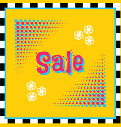 retro modern and funky colors sale halftone sign vector image