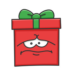 Sad depress present christmas gift box cartoon vector