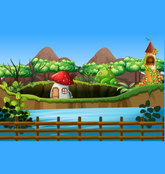 Scene with mushroom house and tower vector