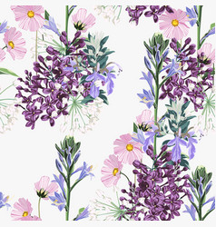 seamless pattern beautiful pink blooming flowers vector image