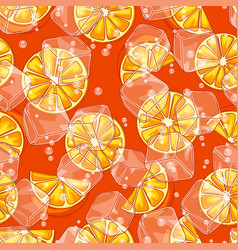 seamless pattern with oranges ice cubes and soda vector image